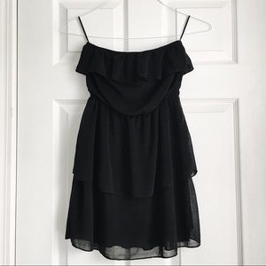 Black ruffles tube dress